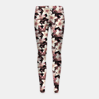 Miniaturka Lilies on black Girl's leggings, Live Heroes