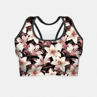 Miniaturka Lilies on black Crop Top, Live Heroes