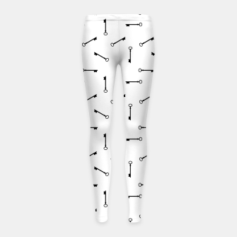 Thumbnail image of Antique Key Graphic Silhouette Motif Pattern Girl's leggings, Live Heroes