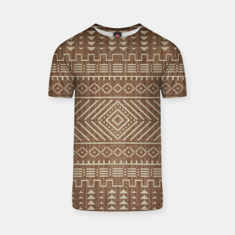 Miniatur Brown Oriental African Moroccan Boho Style Pattern T-shirt, Live Heroes