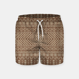 Miniatur Brown Oriental African Moroccan Boho Style Pattern Swim Shorts, Live Heroes