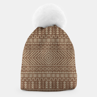 Miniatur Brown Oriental African Moroccan Boho Style Pattern Beanie, Live Heroes