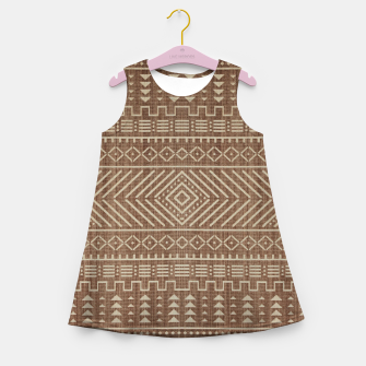 Miniatur Brown Oriental African Moroccan Boho Style Pattern Girl's summer dress, Live Heroes
