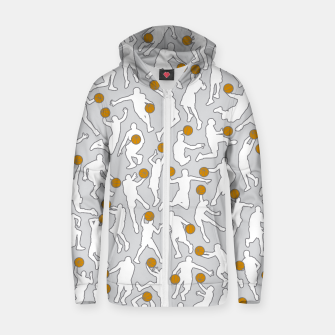 Thumbnail image of Basketball Player Pattern WHITE Zip up hoodie, Live Heroes
