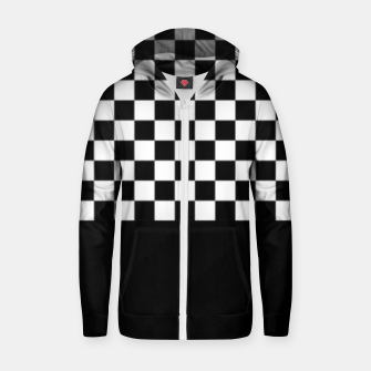 Thumbnail image of Black and White Squares Zip up hoodie, Live Heroes