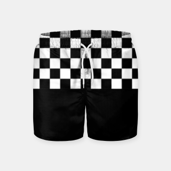 Thumbnail image of Black and White Squares Swim Shorts, Live Heroes
