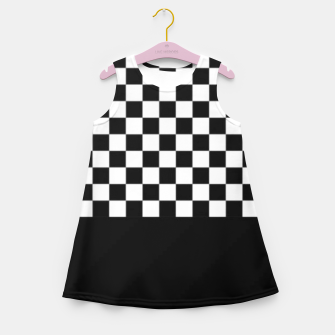 Thumbnail image of Black and White Squares Girl's summer dress, Live Heroes