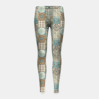 Thumbnail image of Heritage Old Style Moroccan Tiles Girl's leggings, Live Heroes