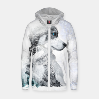 Thumbnail image of Nordic Dog with Double Exposure Reißverschluss kapuzenpullover, Live Heroes