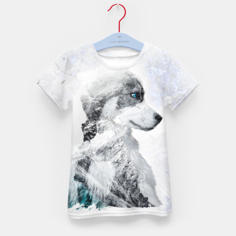Thumbnail image of Nordic Dog with Double Exposure T-Shirt für kinder, Live Heroes