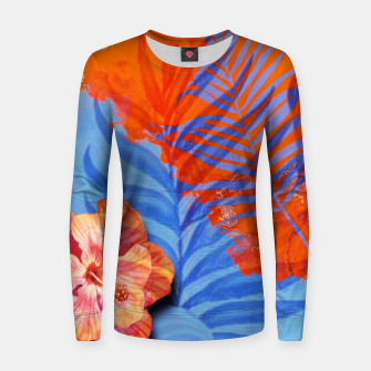 Miniatur orange blue toned tropical flowers and leaves on marble abstract background Women sweater, Live Heroes