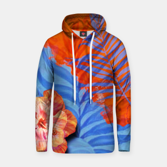Miniatur orange blue toned tropical flowers and leaves on marble abstract background Hoodie, Live Heroes