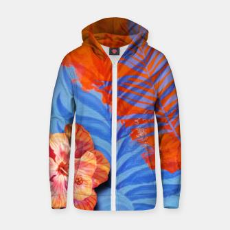 Miniatur orange blue toned tropical flowers and leaves on marble abstract background Zip up hoodie, Live Heroes