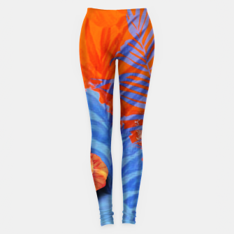 Miniatur orange blue toned tropical flowers and leaves on marble abstract background Leggings, Live Heroes