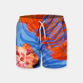 Miniatur orange blue toned tropical flowers and leaves on marble abstract background Swim Shorts, Live Heroes