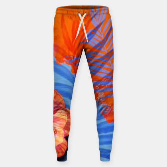Miniaturka orange blue toned tropical flowers and leaves on marble abstract background Sweatpants, Live Heroes