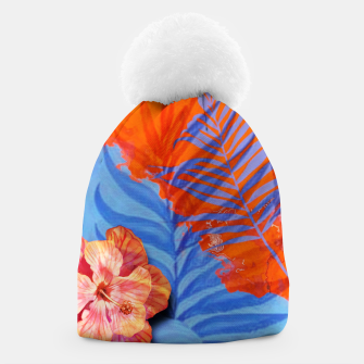 Miniatur orange blue toned tropical flowers and leaves on marble abstract background Beanie, Live Heroes