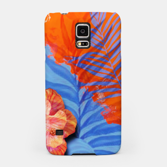 Miniatur orange blue toned tropical flowers and leaves on marble abstract background Samsung Case, Live Heroes