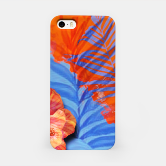 Miniaturka orange blue toned tropical flowers and leaves on marble abstract background iPhone Case, Live Heroes