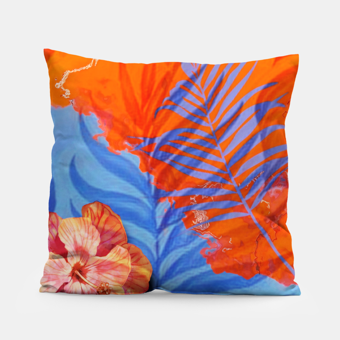 Image of orange blue toned tropical flowers and leaves on marble abstract background Pillow - Live Heroes
