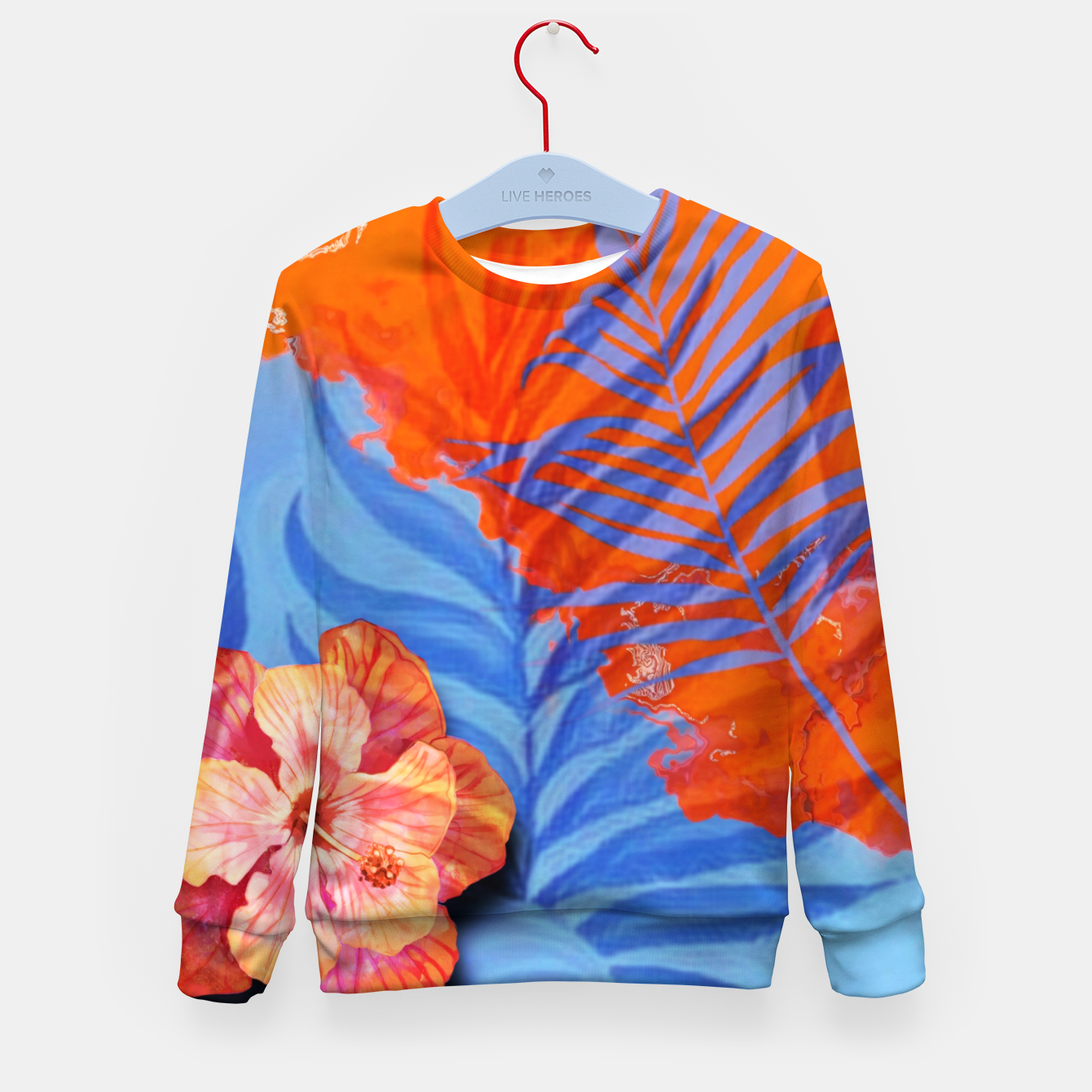 Image of orange blue toned tropical flowers and leaves on marble abstract background Kid's sweater - Live Heroes