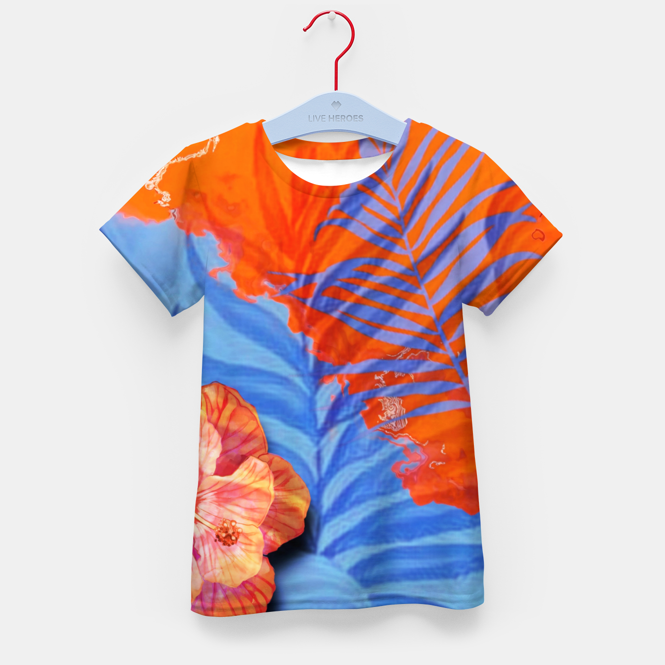 Image of orange blue toned tropical flowers and leaves on marble abstract background Kid's t-shirt - Live Heroes
