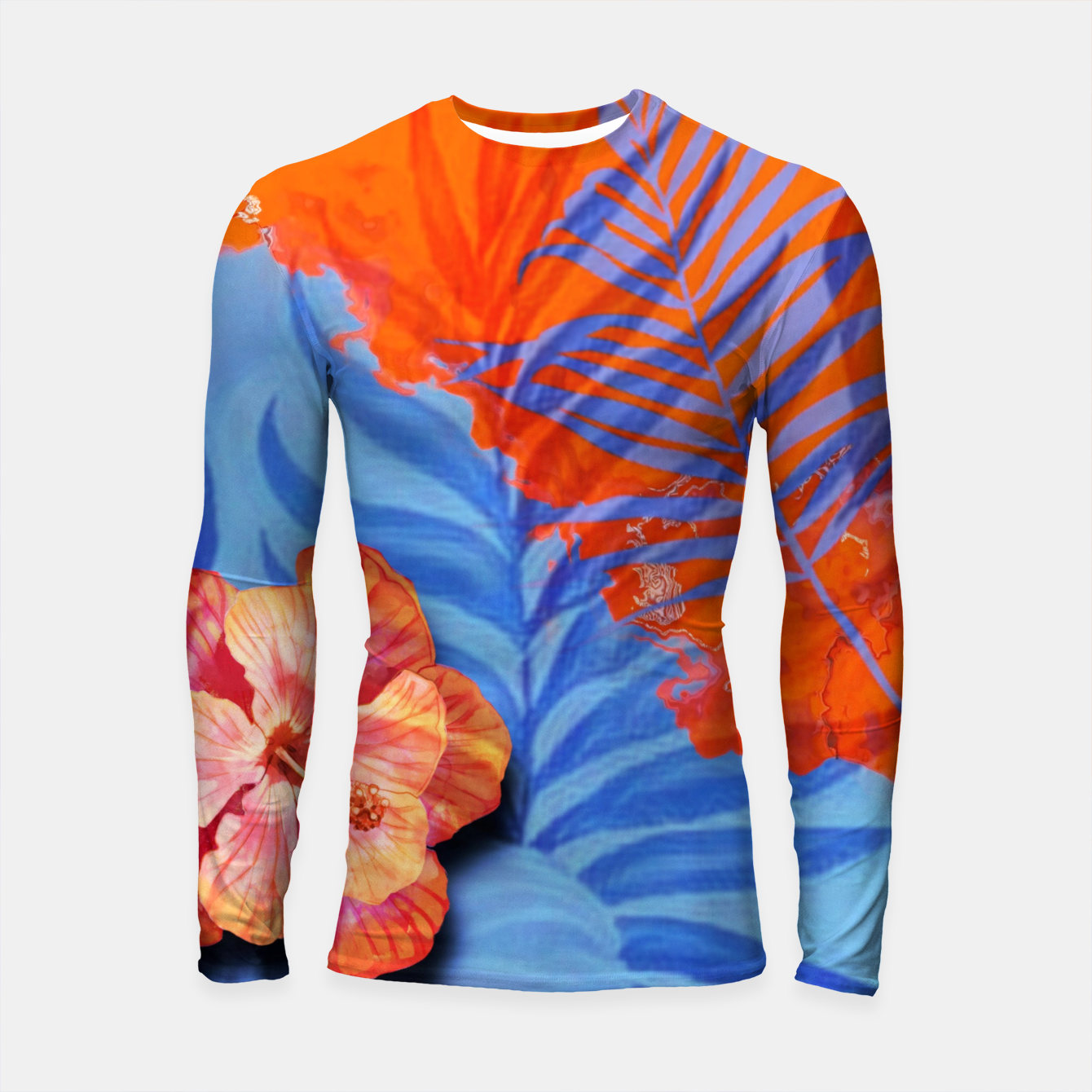 Image of orange blue toned tropical flowers and leaves on marble abstract background Longsleeve rashguard  - Live Heroes