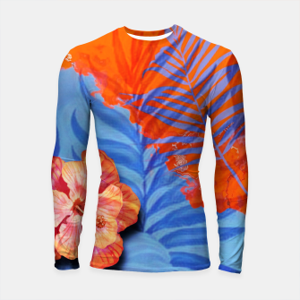 Thumbnail image of orange blue toned tropical flowers and leaves on marble abstract background Longsleeve rashguard , Live Heroes