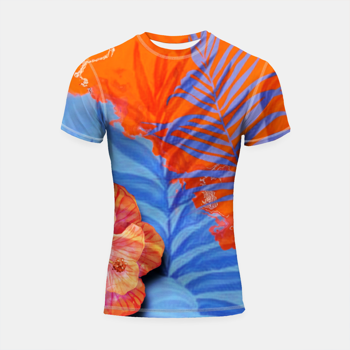 Image of orange blue toned tropical flowers and leaves on marble abstract background Shortsleeve rashguard - Live Heroes