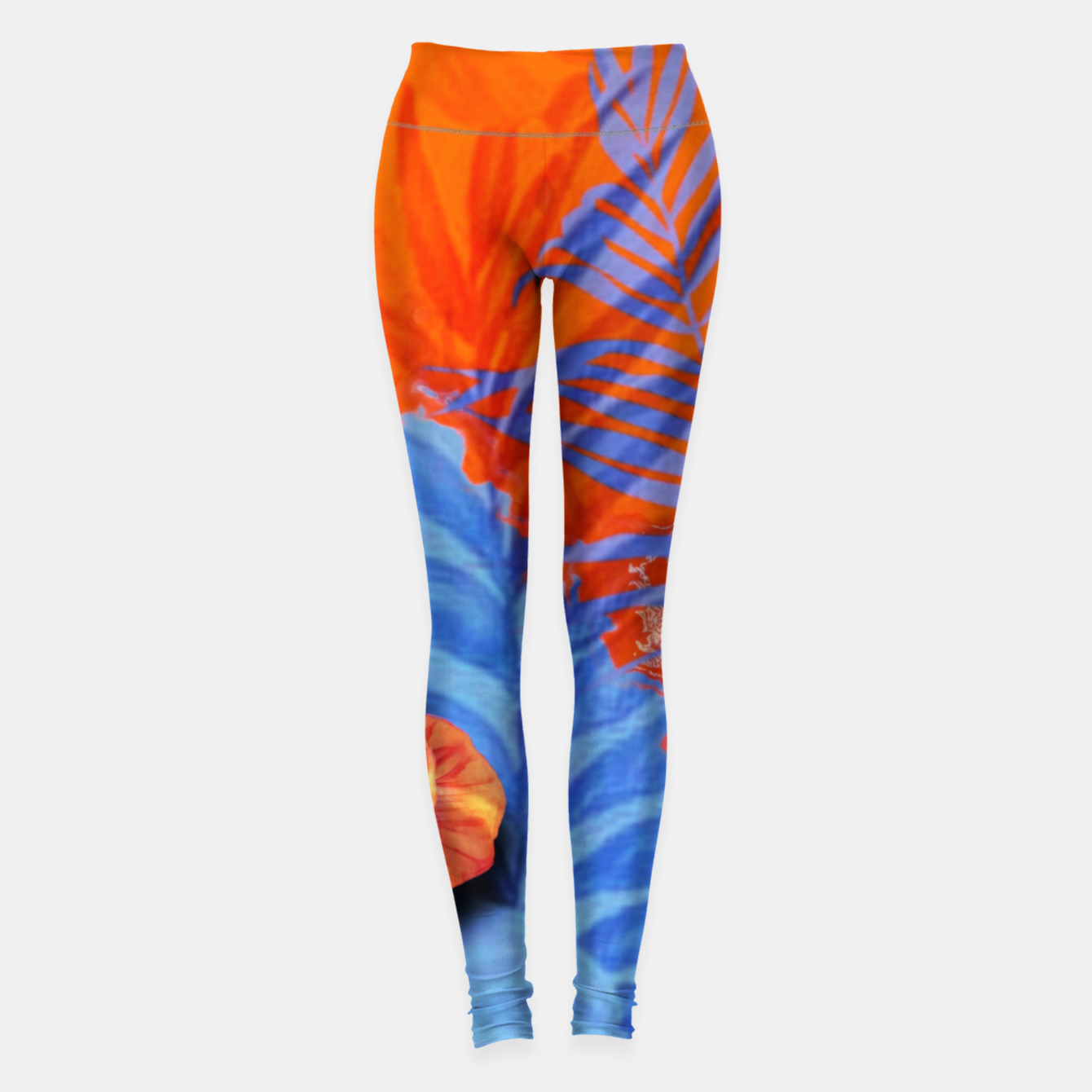 Image of orange blue toned tropical flowers and leaves on marble abstract background Leggings - Live Heroes