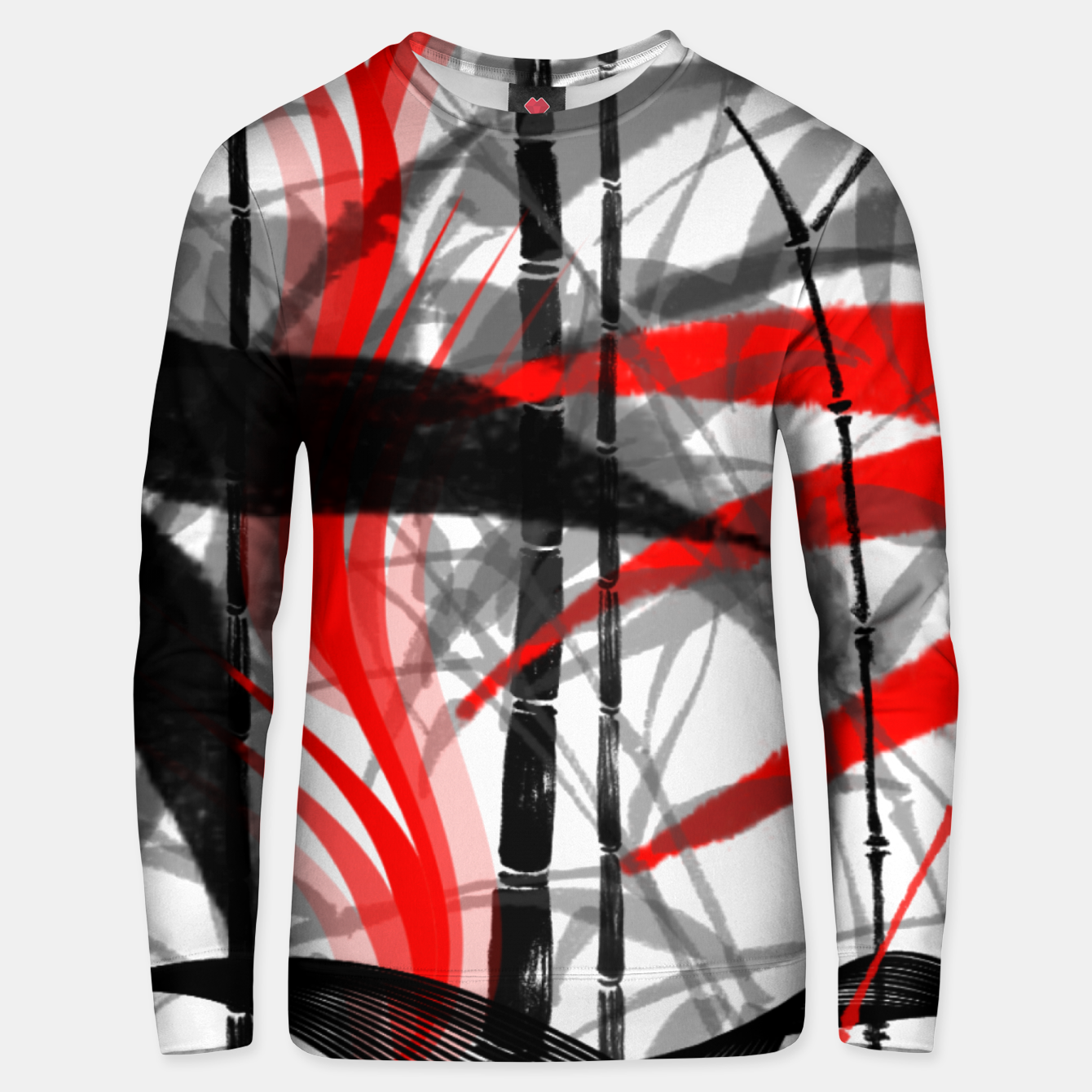 Image of red black grey silver white bamboo abstract digital painting Unisex sweater - Live Heroes