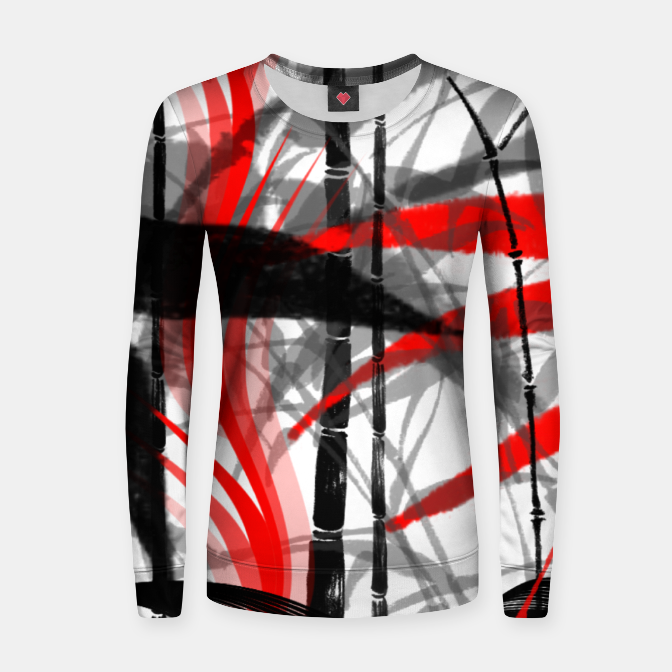 Image of red black grey silver white bamboo abstract digital painting Women sweater - Live Heroes