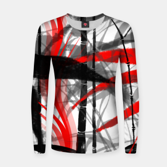 Miniatur red black grey silver white bamboo abstract digital painting Women sweater, Live Heroes