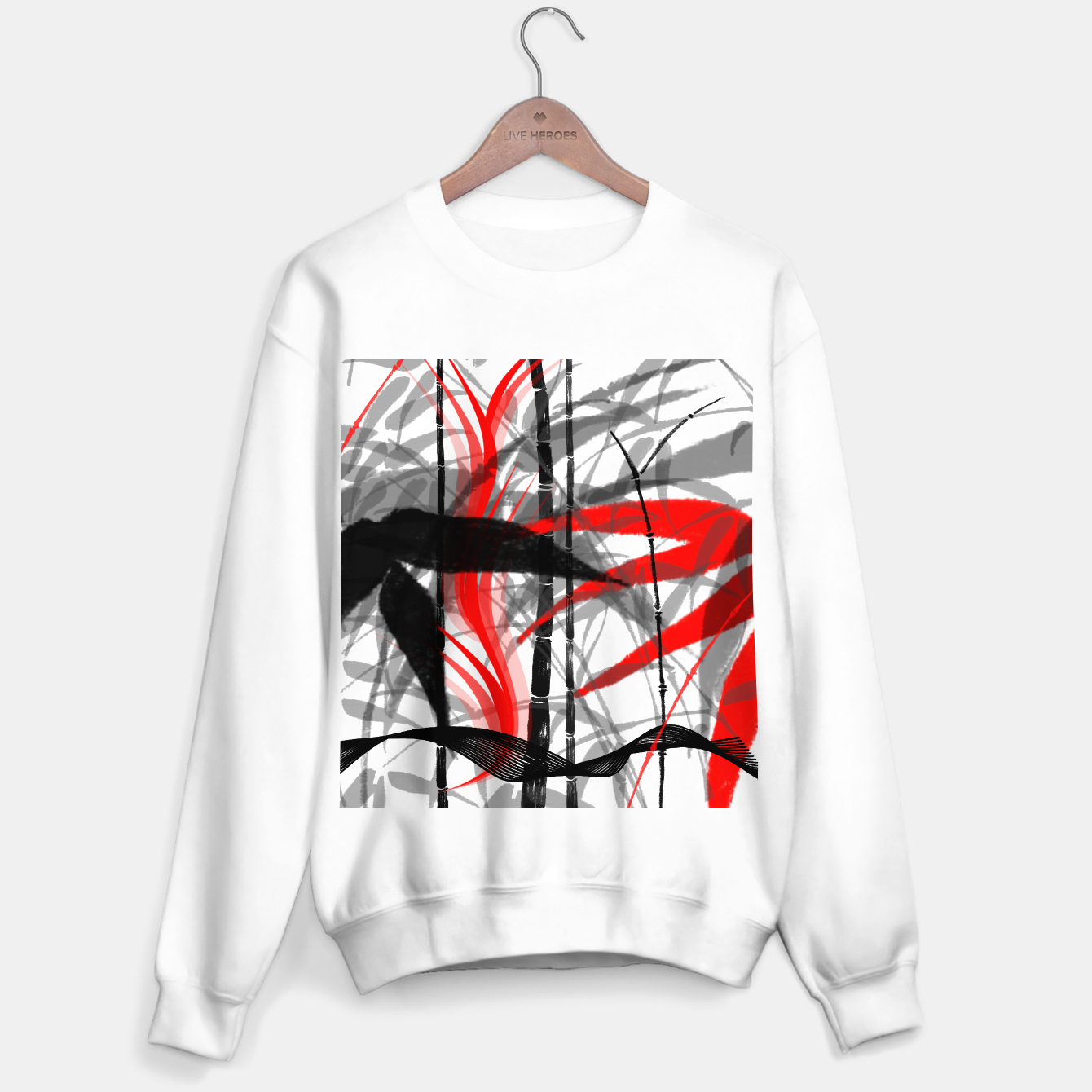 Image of red black grey silver white bamboo abstract digital painting Sweater regular - Live Heroes