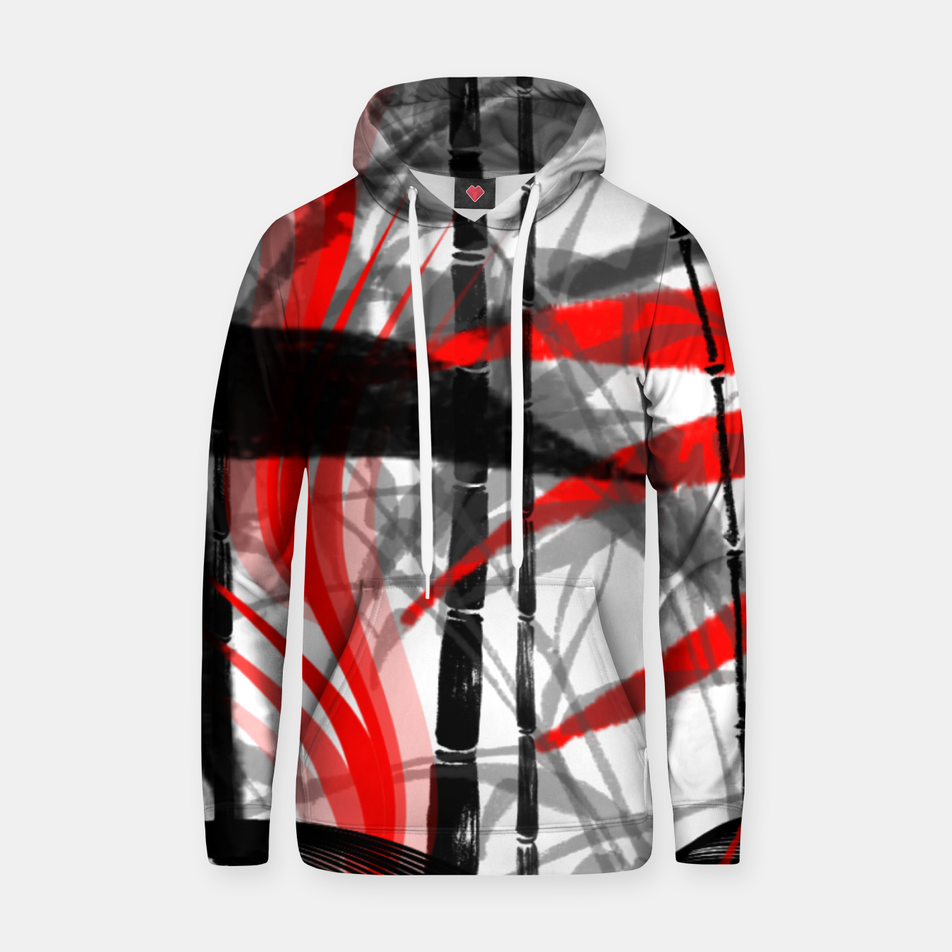 Image of red black grey silver white bamboo abstract digital painting Hoodie - Live Heroes