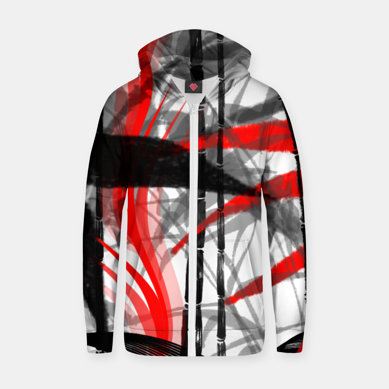 Image of red black grey silver white bamboo abstract digital painting Zip up hoodie - Live Heroes