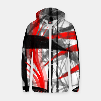 Thumbnail image of red black grey silver white bamboo abstract digital painting Zip up hoodie, Live Heroes