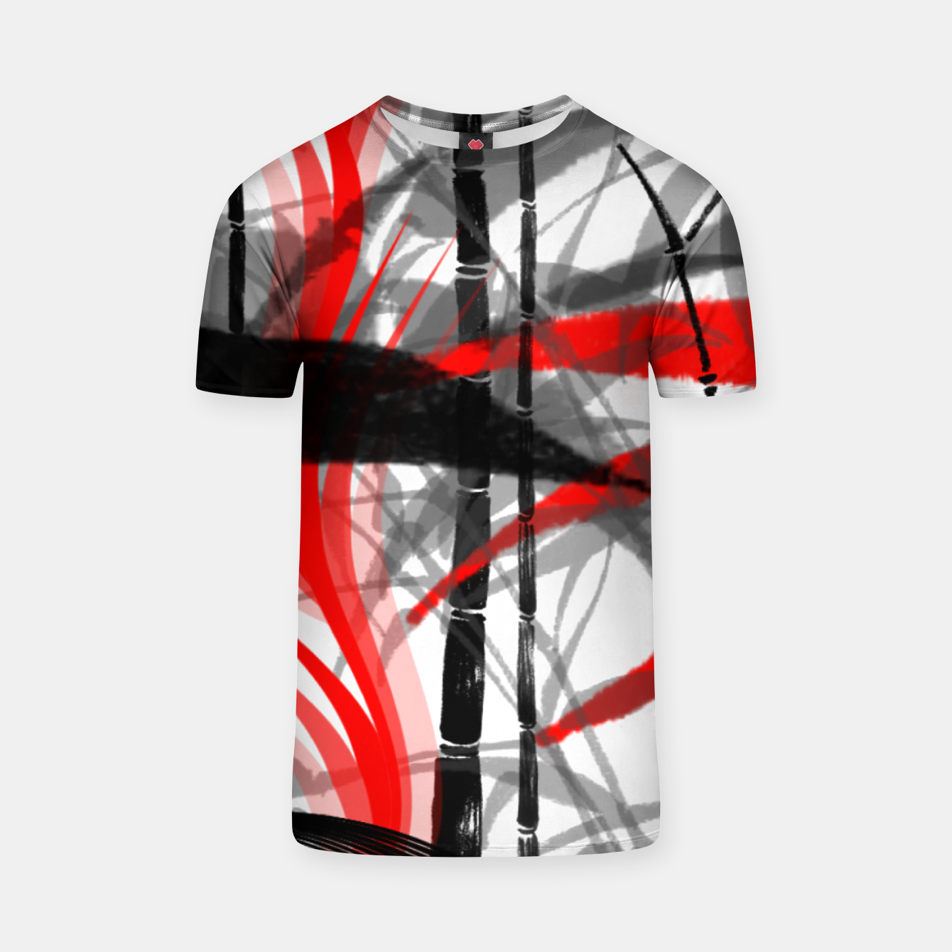 Image of red black grey silver white bamboo abstract digital painting T-shirt - Live Heroes