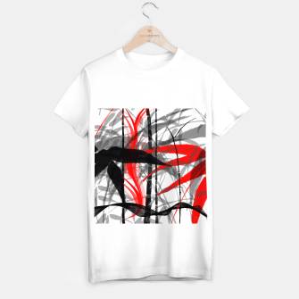 Miniatur red black grey silver white bamboo abstract digital painting T-shirt regular, Live Heroes