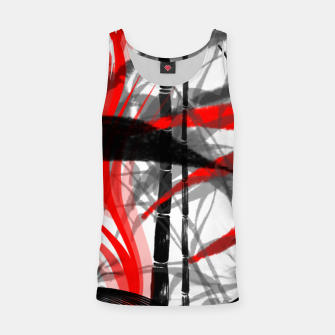 Miniatur red black grey silver white bamboo abstract digital painting Tank Top, Live Heroes