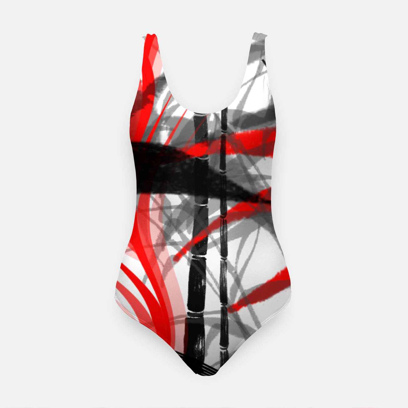 Image of red black grey silver white bamboo abstract digital painting Swimsuit - Live Heroes