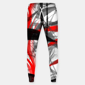 Miniatur red black grey silver white bamboo abstract digital painting Sweatpants, Live Heroes