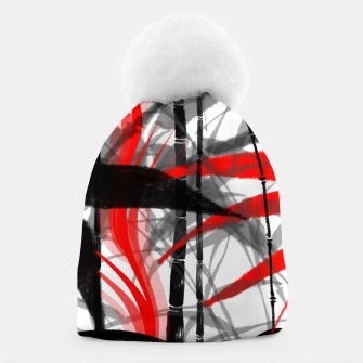 Thumbnail image of red black grey silver white bamboo abstract digital painting Beanie, Live Heroes