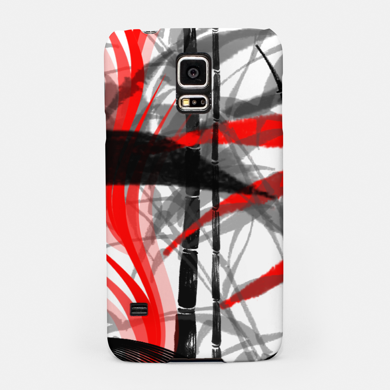 Image of red black grey silver white bamboo abstract digital painting Samsung Case - Live Heroes