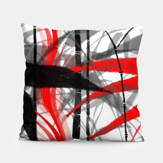 Miniatur red black grey silver white bamboo abstract digital painting Pillow, Live Heroes