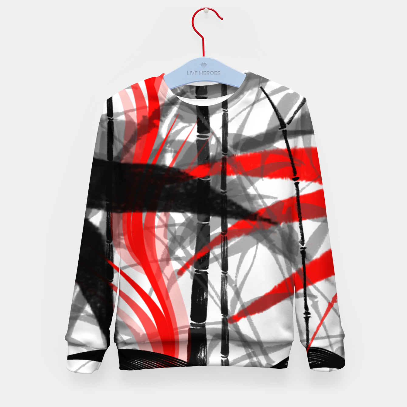 Image of red black grey silver white bamboo abstract digital painting Kid's sweater - Live Heroes