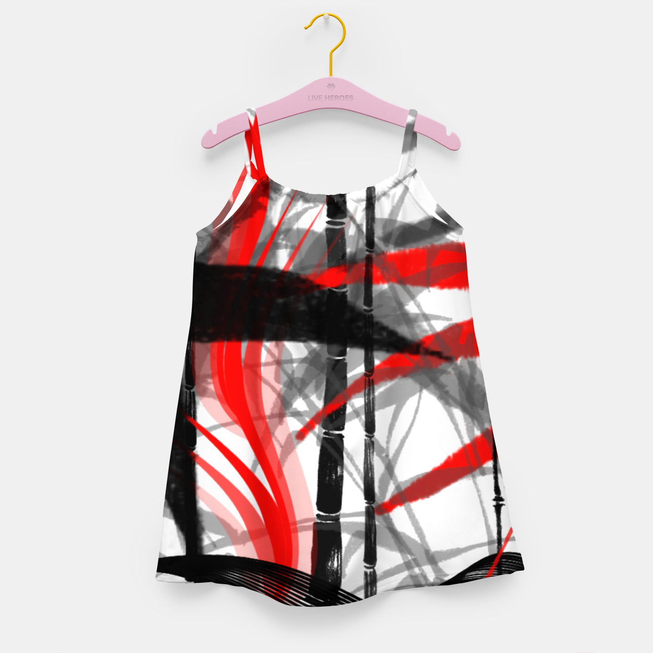 Image of red black grey silver white bamboo abstract digital painting Girl's dress - Live Heroes