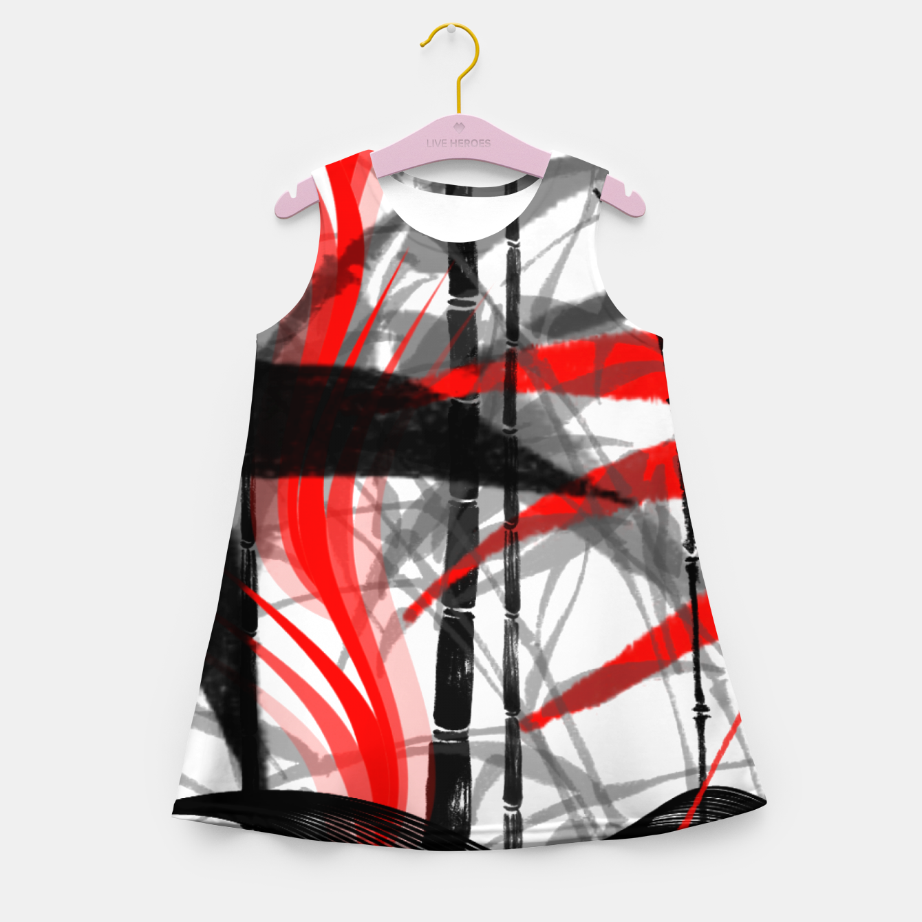Image of red black grey silver white bamboo abstract digital painting Girl's summer dress - Live Heroes