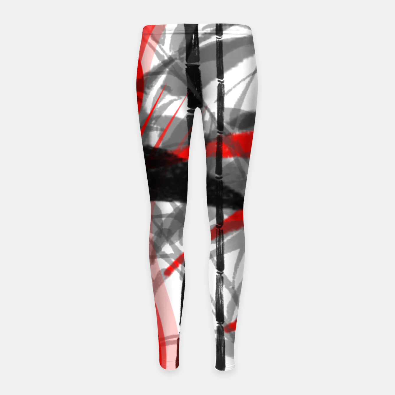 Image of red black grey silver white bamboo abstract digital painting Girl's leggings - Live Heroes