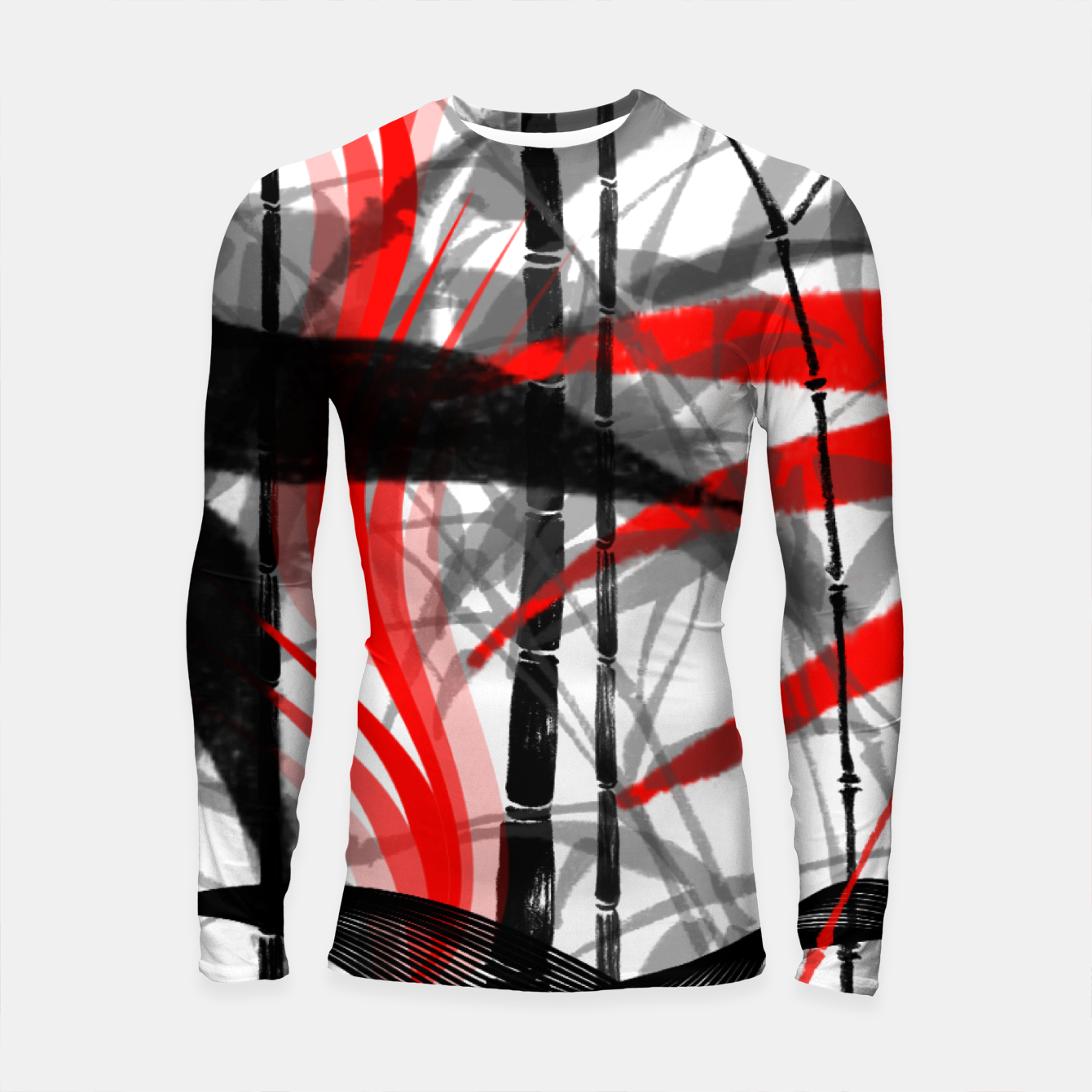 Image of red black grey silver white bamboo abstract digital painting Longsleeve rashguard  - Live Heroes